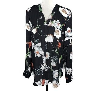 Simply Styled Black Floral Blouse Size Large